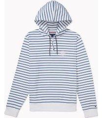 tommy hilfiger men's adaptive stripe drawstring hoodie bright white / captains blue - l