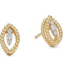 18k two-tone gold, ruby & diamond stud earrings