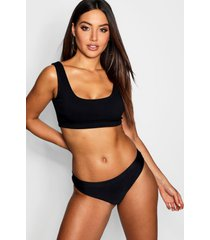 mix & match ribbed crop bikini top, black