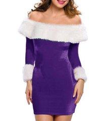 off shoulder fluffy velvet christmas party dress