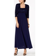 r & m richards empire-waist gown & sequined lace jacket