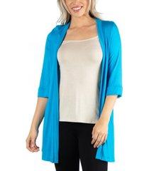 24seven comfort apparel open front elbow length sleeve women cardigan