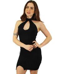 vestido racy modas tubinho com fenda e decote em gota preto