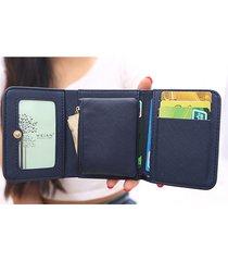 portafoglio di carte in pelle pu donna borsa portafoglio trifold carino