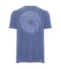 t-shirt masculina meia malha silkada peixes - azul