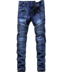 mens hip hop motorcycle jeans slim fit biker pleated straight denim pants