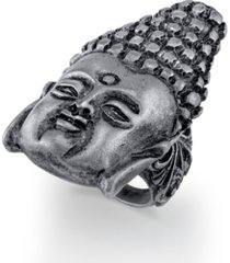 t.r.u. by 1928 pewter tone buddha head ring