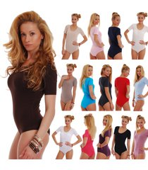 women cotton bodysuit scoop round sheer neck short sleeve bikini 1445 lady body