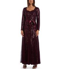r & m richards petite embellished godet gown