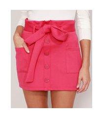 saia clochard com bolsos e faixa para amarrar curta pink