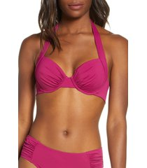 women's tommy bahama underwire halter bikini top, size 38d - burgundy