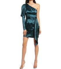 women's chi chi london one-shoulder body-con satin dress, size 6 - blue/green