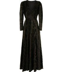 eva gold striped long dress - black
