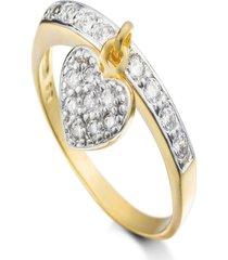 anel kumbayá pingente de coração semijoia banho de ouro 18k cravejado com zircônias brancas detalhes em ródio