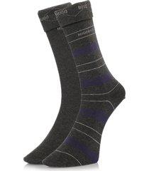 hugo boss double pack grey stripe socks 50319261