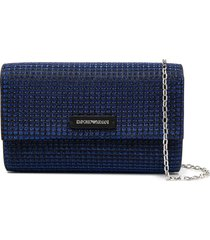 emporio armani glitter-effect tweed shoulder bag - blue