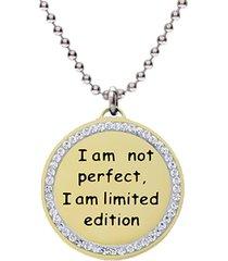 collana pendente oro e strass 'i am not perfect. i am limited edition.' per donna
