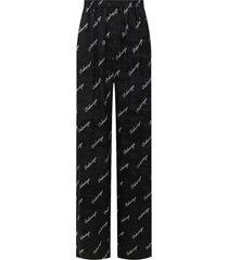 black & white logo wide leg pants