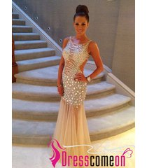 amazing mermaid scoop backless diamond crystal champagne prom dress/evening gown