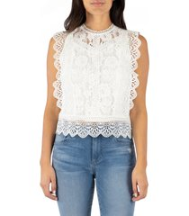 women's kut from the kloth stella sleeveless cotton blend lace top, size medium - white