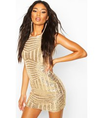 sleeveless sequin mini dress, gold