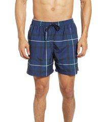 men's barbour tartan print swim trunks, size medium - blue