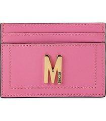moschino women's logo leather card case - fuchsia