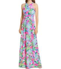 women's lilly pulitzer tallula sleeveless maxi dress, size small - blue
