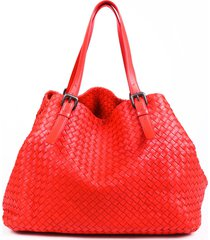 bottega veneta intrecciato cesta large red leather tote bag red sz: e