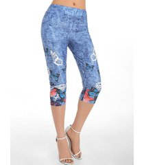 butterfly print skinny crop jeggings