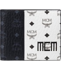 men's mcm visetos canvas bifold wallet - white