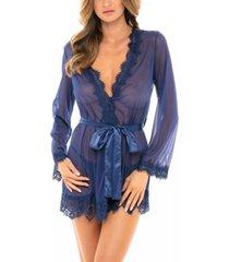 oh la la cheri women's eyelash lace robe with satin sash and g-string