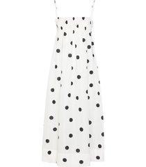 ganni polka-dot print midi dress - white