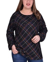 ny collection women's plus size plaid pullover top with elastic cuff