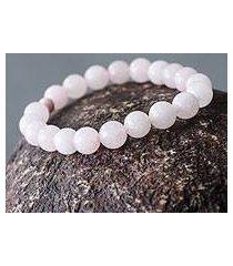 rose quartz and ceramic stretch bracelet, 'pink whisper' (peru)