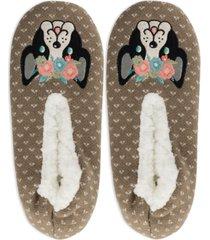 k. bell socks women's faux-fur flower puppy slippers