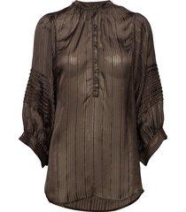 lurex stripe shirt blouse lange mouwen bruin rabens sal r