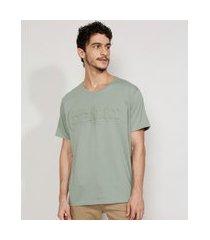 "camiseta masculina manga curta really"" em relevo gola careca verde claro"""