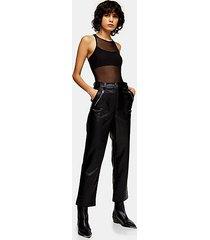 tall black faux leather straight leg pants - black