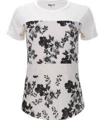 camiseta con metidos estampados color blanco, talla 6