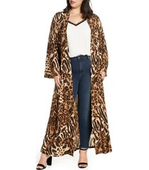 plus size women's coldesina dylan belted duster, size 2x/3x - brown