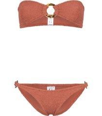 hunza g gloria crinkle bandeau bikini - brown