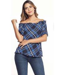 blusa manga corta azul oscuro