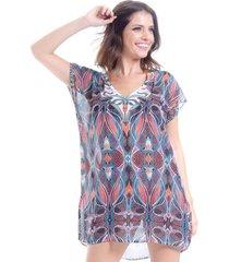 blusa 101 resort wear tunica decote v crepe estampa trib