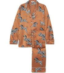 lila printed silk-satin pajama set