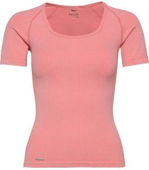 bubblegum washed ribbed t-shirt t-shirts & tops short-sleeved rosa aim'n