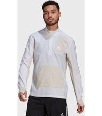 chaqueta adidas performance 1/2 zip p.b m  blanco - calce regular