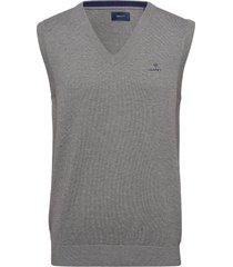 classic cotton slipover stickad tröja v-krage grå gant