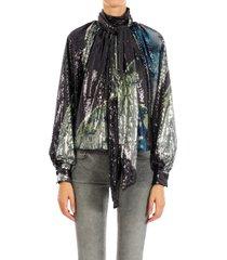 ganni sequin mesh blouse