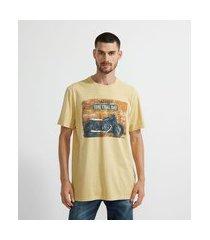 camiseta manga curta estampa moto | marfinno | amarelo | gg